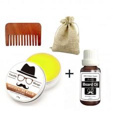 Набор: бальзам для бороды 30 г + масло для бороды 20 мл + гребень. В льняном мешочке