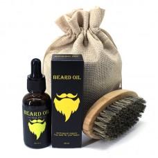 Набор: масло для бороды 30 мл + щетка. В льняном мешочке