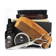 Набор: бальзам для бороды 30 г + масло для бороды 30 мл + щетка + расческа + ножницы. В картонной коробочке