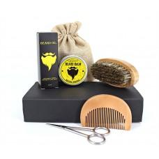 Набор: бальзам для бороды 30 г + масло для бороды 30 мл + щетка + гребень + ножницы. В картонной коробочке