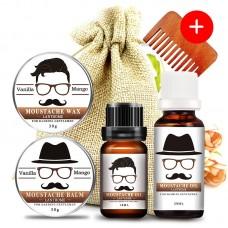 Набор: бальзам для бороды 30 г + масло для бороды 2 шт (10 мл + 20 мл) + воск для усов 30 г + гребень. В льняном мешочке