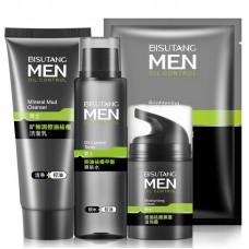 Набор мужской косметики для очищения кожи: крем очищающий (100г) + очищающий лосьон (120мл) + освежающий очищающий крем (50г) + маска для лица (25г)